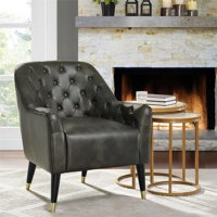 Dorel Living Walker Button Tufted Accent Chair, Dark Taupe