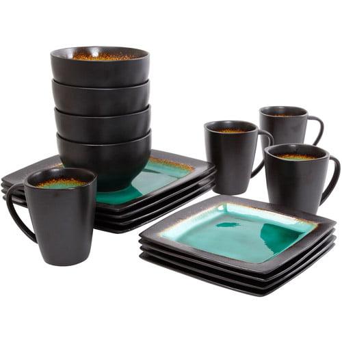 Gibson Everyday Ocean Oasis 16 Piece Dinnerware Set Turquoise