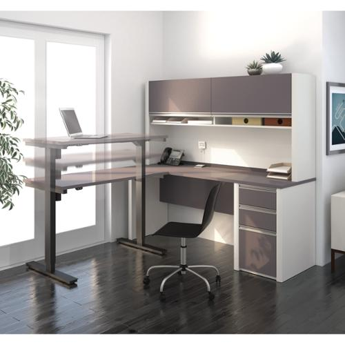Bestar Connexion L-Desk with hutch including Electric Height Adjustable Table Bordeaux & Slate