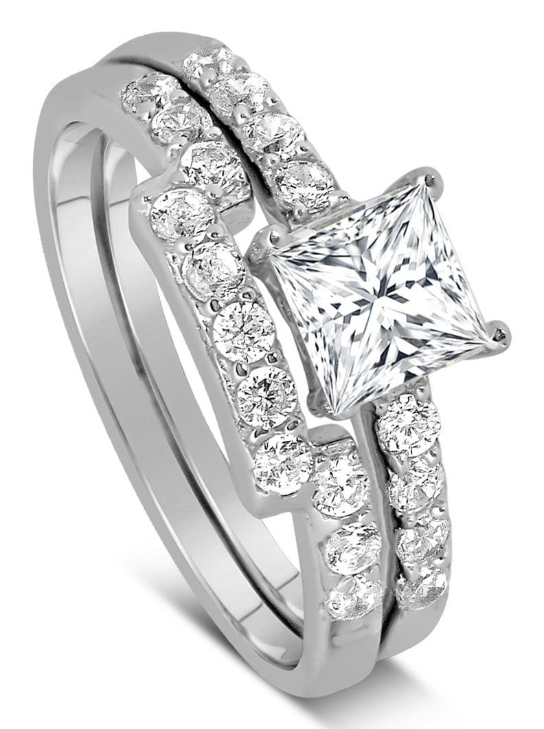 Jeenjewels 1 Carat Princess Cut Diamond Wedding Ring Set In White