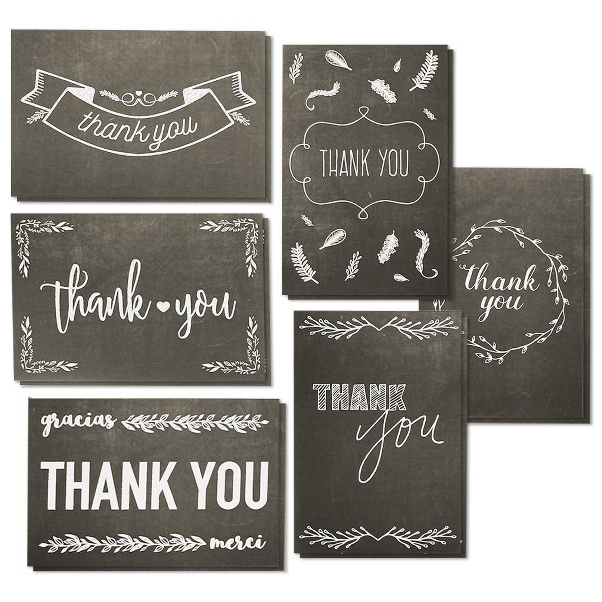 Personalised Boxed Thank You Card Black Check