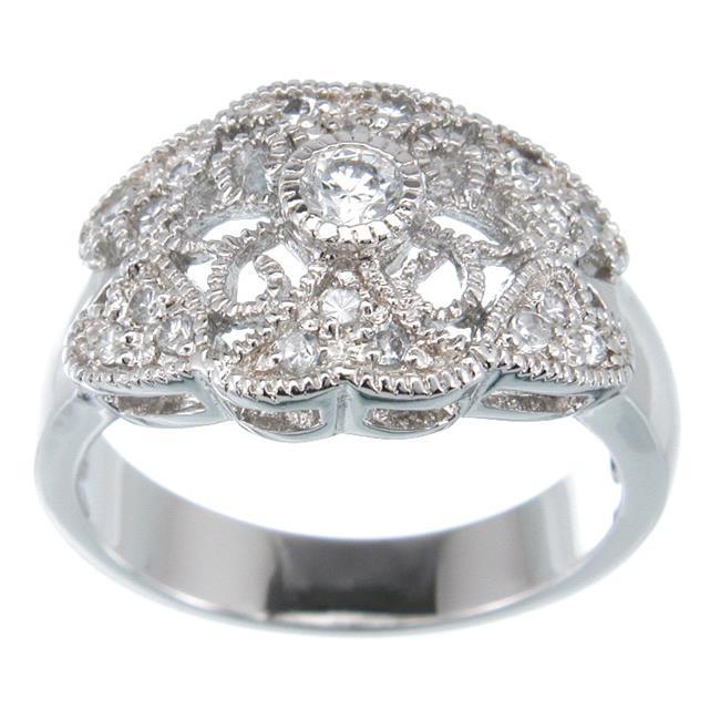 Plutus kkr5055c 925 Sterling Silver Platinum Finish Antique Style Ring Size 8
