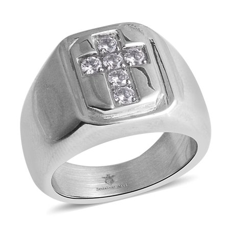 Cross Signet Statement Ring Stainless Steel Round Crystal Gift Jewelry for Mens