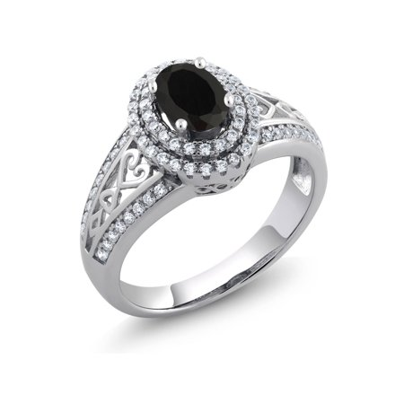 1.25 Ct Oval Black Onyx 925 Sterling Silver Ring (Black Lantern Ring)