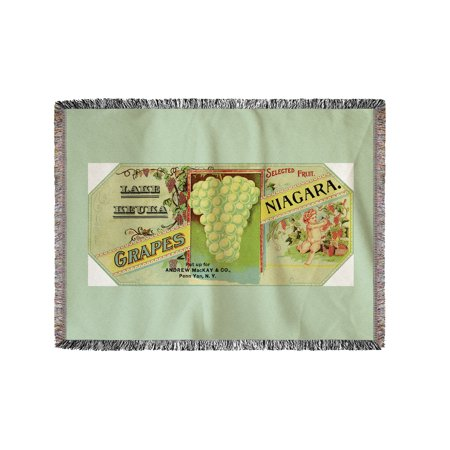 Penn Yan  New York   Lake Keuka Niagara Grapes Label  Laureled Child In Grapes  60X80 Woven Chenille Yarn Blanket