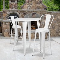 """Flash Furniture 30"""" Round Metal Indoor-Outdoor Bar Table Set with 2 Cafe Barstools, Multiple Colors"""