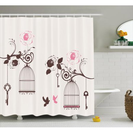 Vintage Shower Curtain Bird Cages And Keys Hanging From Swirling Rose Branches Doves Fabric