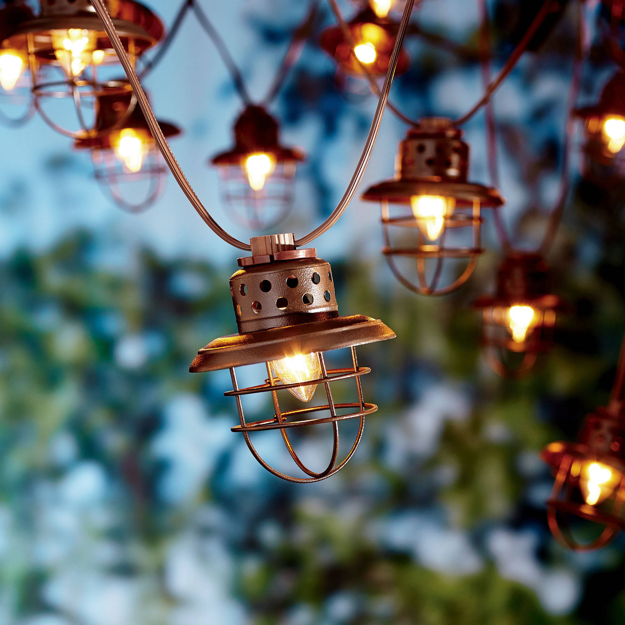 Better Homes And Gardens 10 Count Vintage Cage Lantern String Lights    Walmart.com