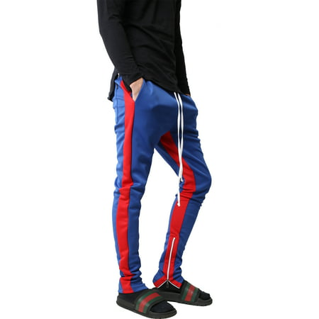 Mens Stripe Track Pants Skinny Fit Elastic Athletic Training Joggers