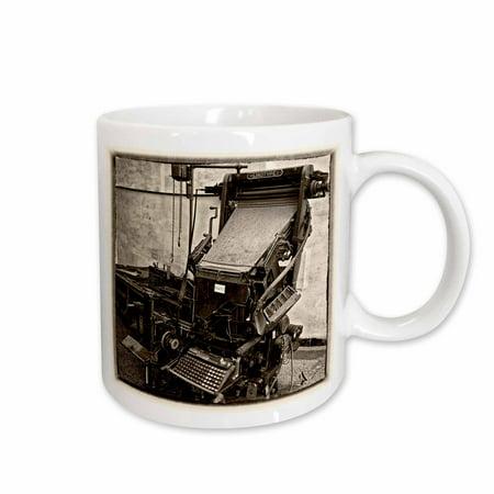 Plate Mug (3dRose Sepia vintage wet plate Old linotype printer in Santa Clara Cuba - Ceramic Mug, 11-ounce )