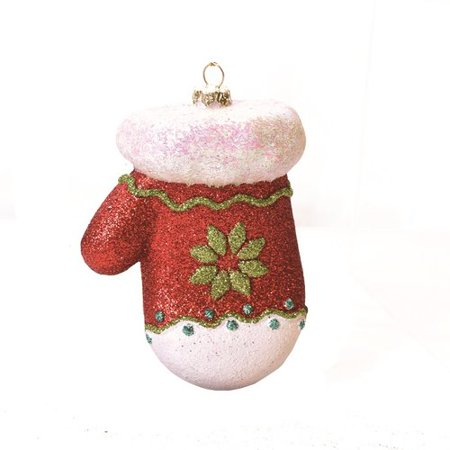 The Holiday Aisle Merry and Bright Glitter Shatterproof Mitten Christmas Ornament