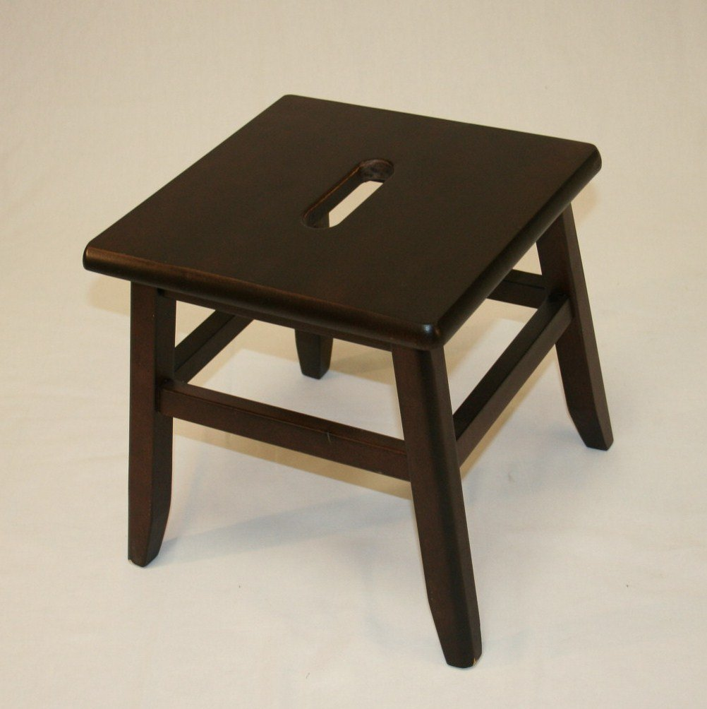 "12"" Hardwood Footstool in Espresso, 1PC by eHemco"