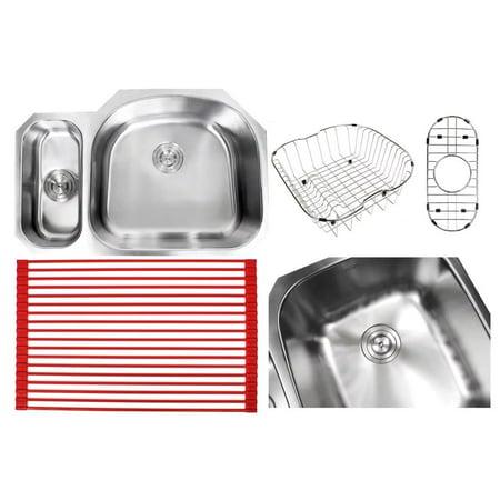 Contempo Living Inc Ariel Sharp Satin 32-inch Premium 16-gauge Stainless Steel Undermount 20/80 Offset D-bowl Kitchen Sink Accessories Kit - Ariel Premium