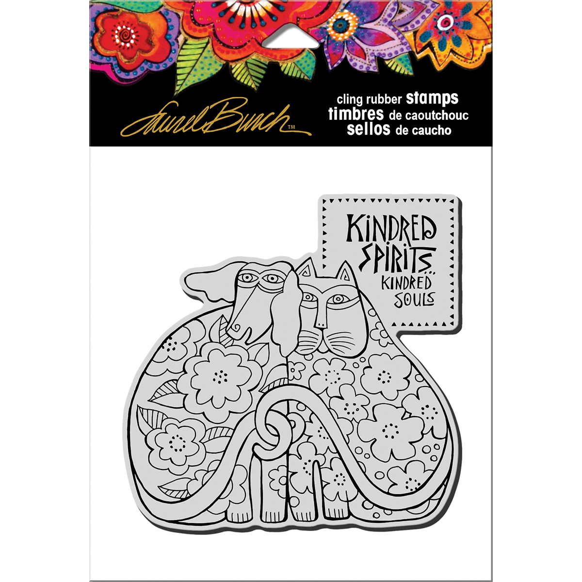 """Stampendous Laurel Burch Cling Stamp 6.5""""x4.5""""-Kindred Spirits"""