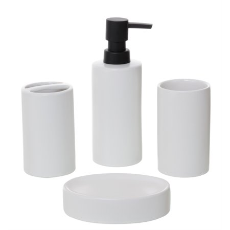 Matte Pewter Bathroom Accessory - Pemberly Row  4-Piece Bathroom Accessory Set  Matte White Ceramic
