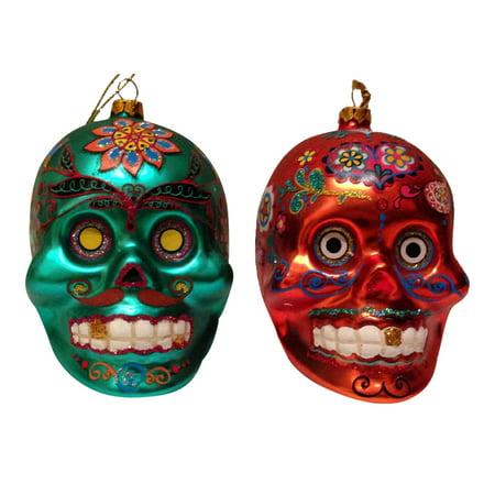 Kurt Adler Day of Dead Dia de Los Muertos Glass Sugar Skull Ornaments Set of 2](Dia De Los Muertos Ornaments)