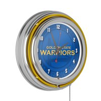 NBA Chrome Double Rung Neon Clock - Fade - Golden State Warriors