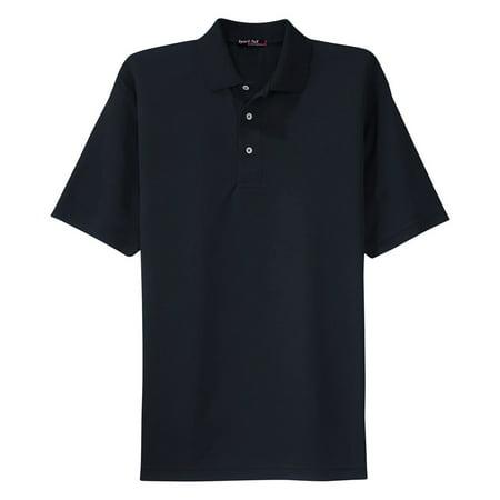 Maroon Striped Performance Polo - Sport-Tek Men's Moisture Wicking Lightweight Polo Shirt