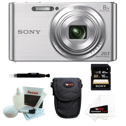 Sony DSC-W830 20.1MP Digital Camera (Silver) + Sony 16GB SDHC/SDXC Memory Card + Accessory Bundle