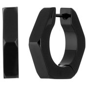 Stainless Steel Mano Stud Hoop Earring Whole Black IP