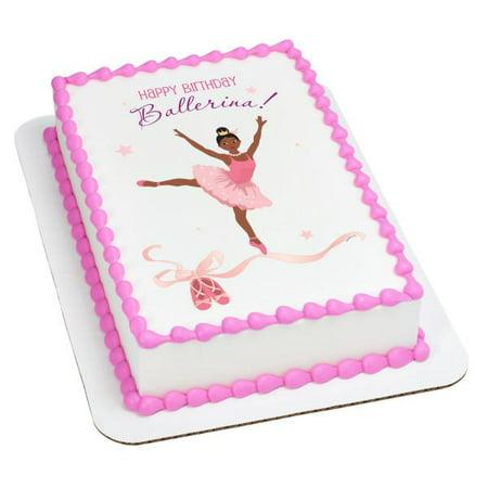 Birthday Ballerina-African American Edible Cake Topper Image (Ballerina Cake)
