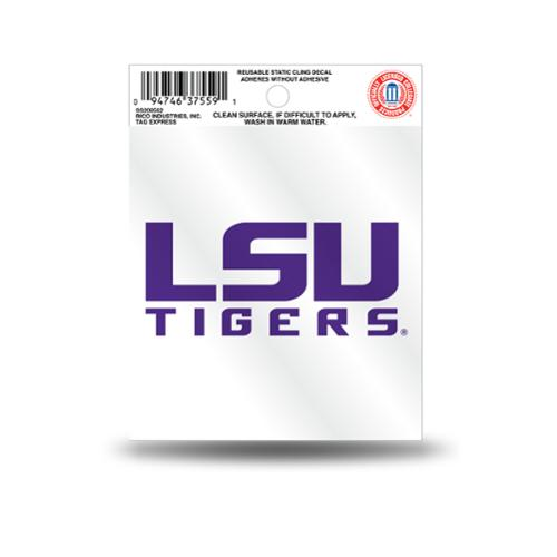 LSU Tigers Official NCAA 3.5 inch  Small Static Cling Window Car Decal by Rico Industries