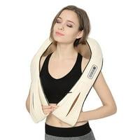 Nekteck Shiatsu Deep Kneading Massage Pillow with Heat, Car/Office Chair Massager, Neck, Shoulder, Back, Waist Massager Pillow [Speed Control, Bi-Direction Control] – Beige