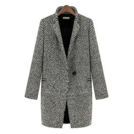 Womens Lapel Collar Wool Long Winter Parka Coat Trench Outwear Jacket Tops (Notch Collar Wool Coat)