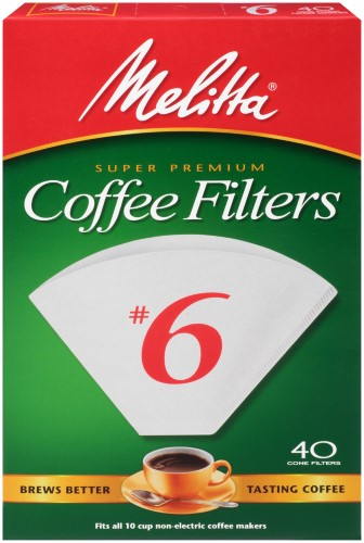 Melitta White Paper Cone Coffee Filters #6 Size 40 ct Box by Kodiak Cakes
