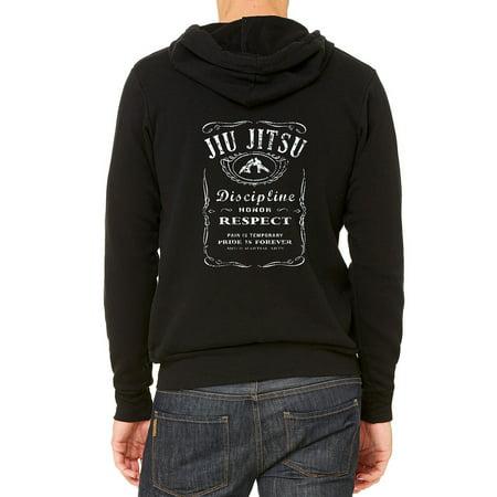 Men's Jiu Jitsu Whiskey Label Black Fleece Zipper Hoodie 2X-Large Black Blac Label Hoodies