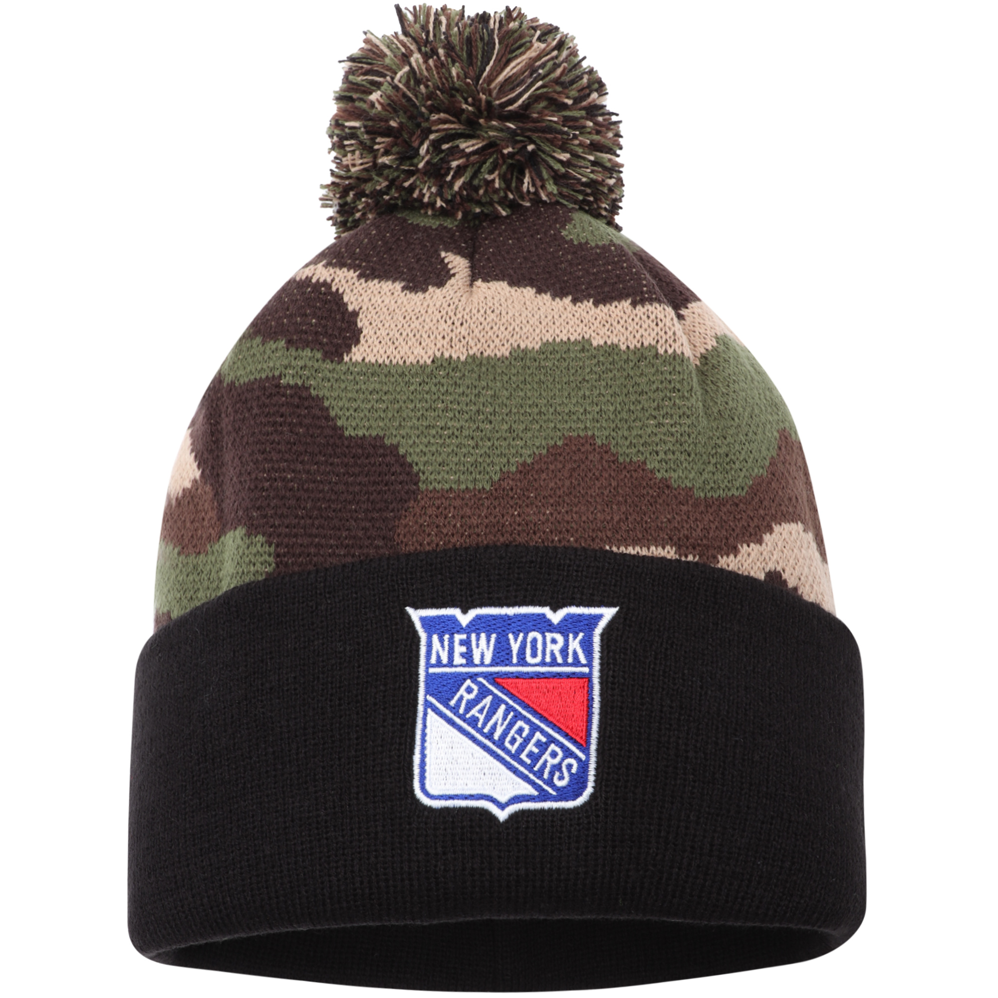 New York Rangers American Needle Cuffed Pom Knit Hat - Camo - OSFA
