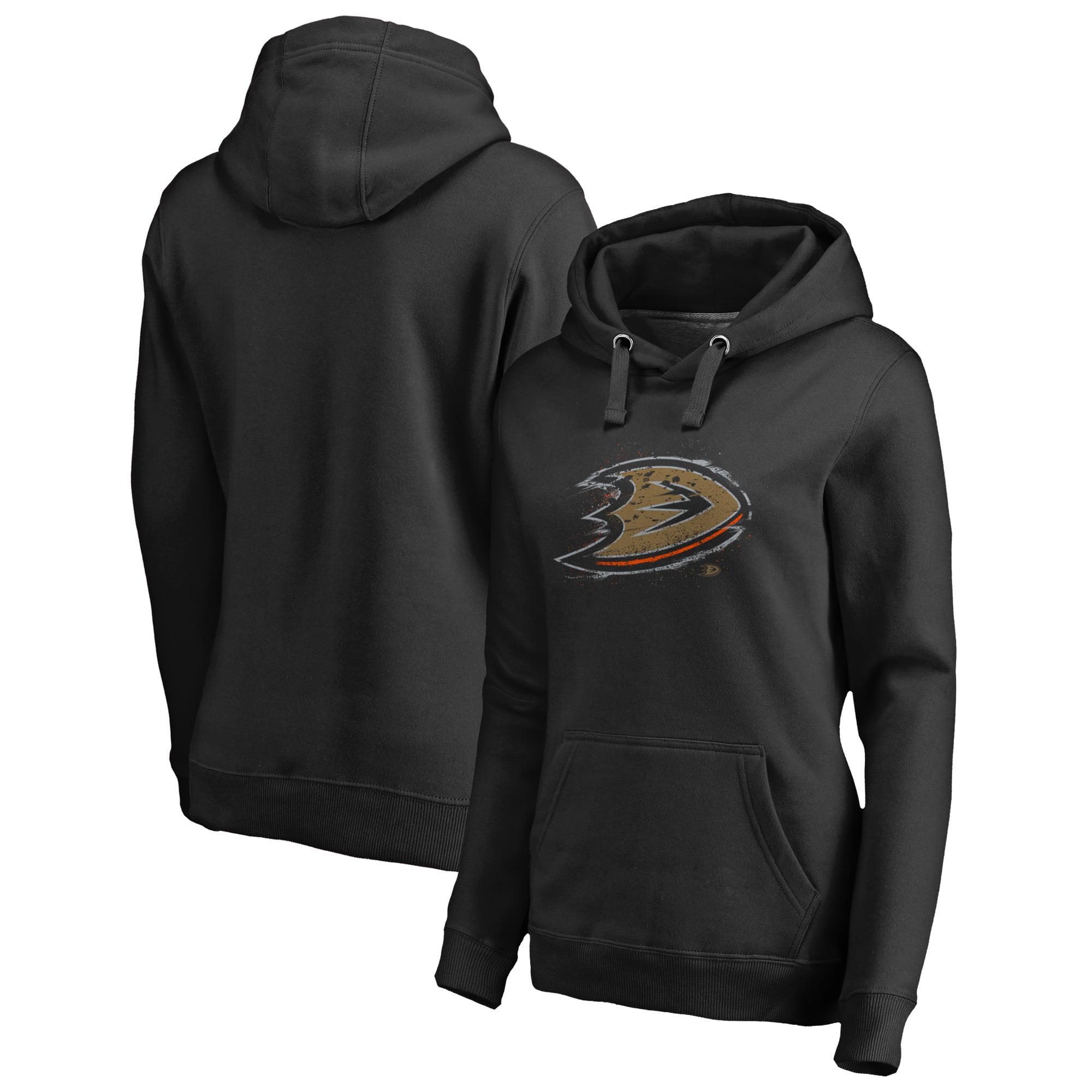 Anaheim Ducks Fanatics Branded Women's Splatter Logo Plus Size Pullover Hoodie - Black