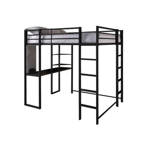 student loft bed frame with desk for kids teens adults full size bunk beds black ebay. Black Bedroom Furniture Sets. Home Design Ideas