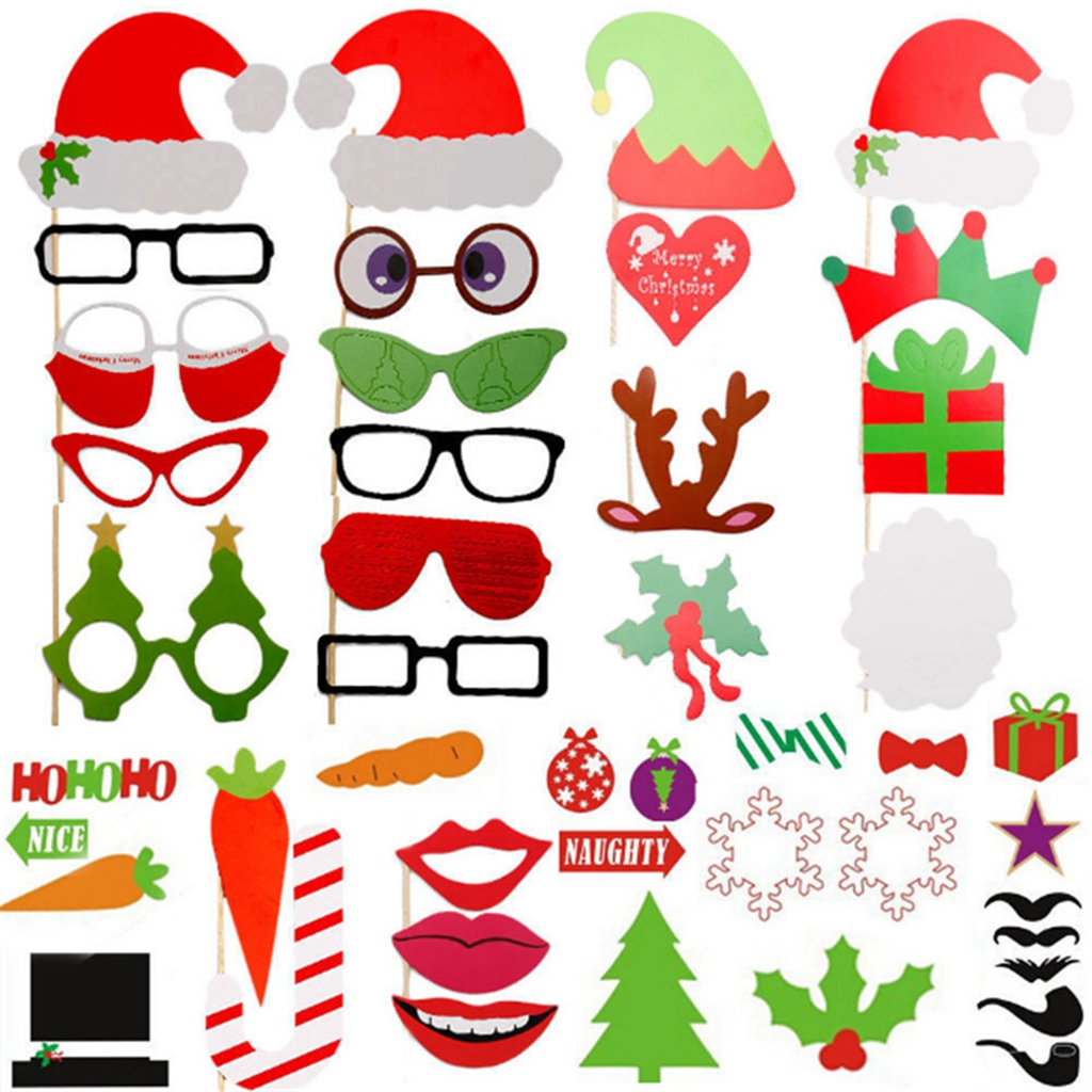 50 pcs Colorful Mustache Santa Hat Lips Glasses Gift Boxes Photo Booth Props On Sticks for Party Fun Wedding Christmas Birthday Prom Favor
