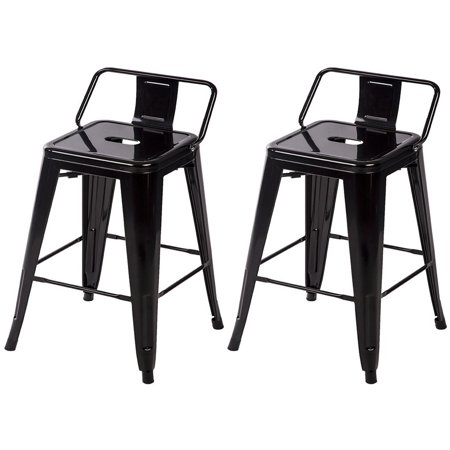 Awesome 24 Metal Frame Tolix Style Bar Stools Industrial Chair With Back Set Of 2 Pabps2019 Chair Design Images Pabps2019Com