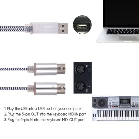 MIDI IN-OUT to USB Cable Cord Aluminum Alloy Plugs for Connecting Electric Piano Keyboard to PC Laptop - image 4 of 4