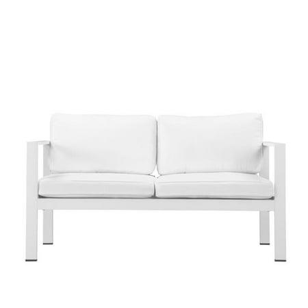 Benzara BM172086 Canap- rembourr- en aluminium anodis- de 30 x 27 x 54 po - Blanc - image 1 de 1