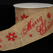 """Natural Burlap Merry Christmas Print Wired Craft Ribbon 4"""" x 10 Yards"""