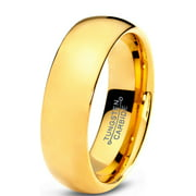 tungsten wedding band ring 7mm for men women comfort fit 18k yellow gold plated plated domed - Guy Wedding Rings