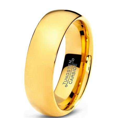 Charming Jewelers Tungsten Wedding Band Ring 7mm for Men Women Comfort Fit 18K Yellow Gold Plated Plated Domed Polished Lifetime Guarantee