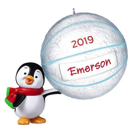 Hallmark Keepsake Christmas 2019 Year Dated Basketball Star Penguin DIY Personalized Ornament, ()
