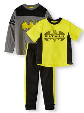 Batman Toddler Boy Short Sleeve Graphic T-shirt, Colorblock Long Sleeve T-shirt & Taped Jogger Pant, 3 piece Outfit Set