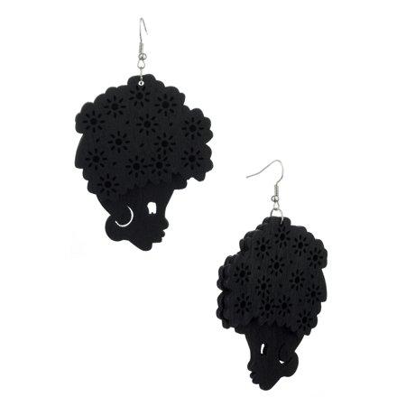 Wooden Floral Turban Fro African Woman Head Dangle Pierced Earrings, Black