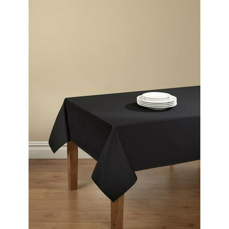 Mainstays Hyde Tablecloth with Table Protector, Black (Table Rail Vinyl)