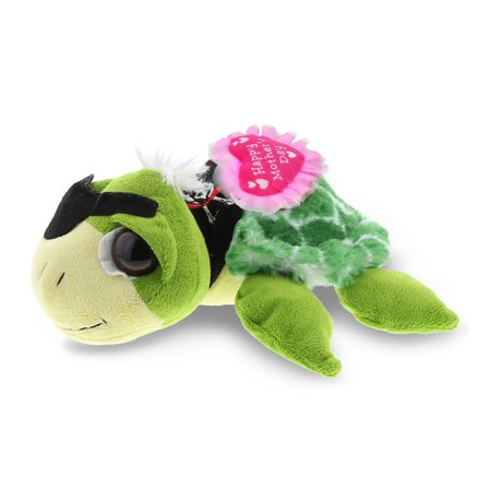 """DolliBu Happy Mother's Day Super Soft Plush Green Pirate Turtle Figure - Cute Stuffed Animal with Pink Heart Message for Best Mommy, Grandma, Wife, Daughter - Cute Sea Life Plush Toy Gift - 9"""" Inches"""