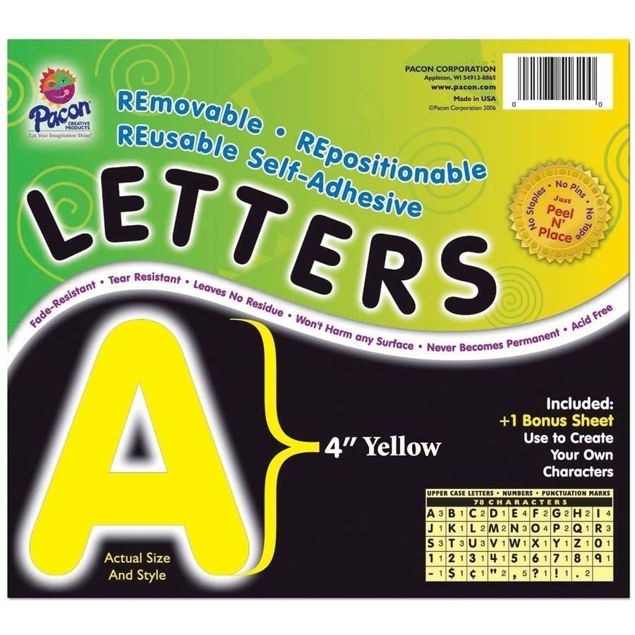 """Self-Adhesive 4"""" Letters, Pack of 78, Yellow"""