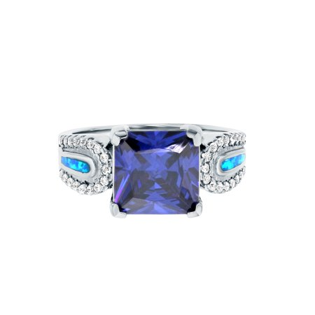 ZilverZoom Sterling Silver Blue Opal Tanzanite CZ Square Shape Band Ring