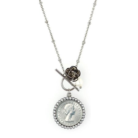 American Coin Treasures Lucky British Sixpence and Rose Silvertone Toggle Pendant