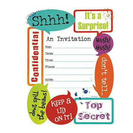 Happy Birthday 'Surprise!' Surprise Party Novelty Invitations w/ Envelopes (Cupcake Birthday Party Invitation)