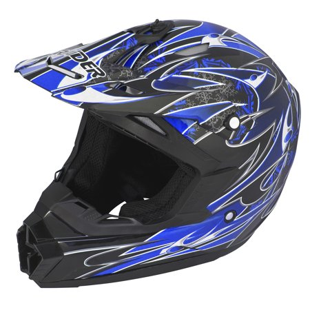 Adult Raider Wildfire Helmet MX / ATV - Matte Black, Red, Blue or Silver - DOT